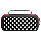 Mrosm Carrying Case Compatible with Nintendo Switch, White Black Polka Dot Hard Case Shell Pouch with 20 Game Card Slots for Switch Console Controller & Accessories