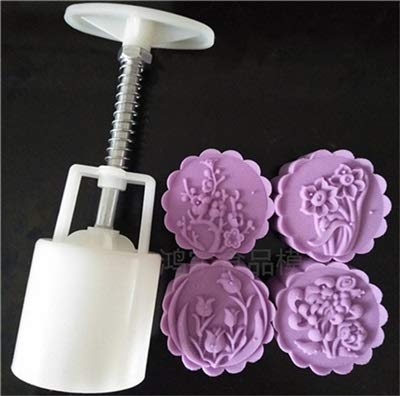 SPLY DTEM 50 Grams Round Cake Mold Optional 1 Set Plastic Mooncake Mold Flower Moon Cake Mould DIY Kitchen Bakeware Baking Tools For Cakes (Color : HY29)
