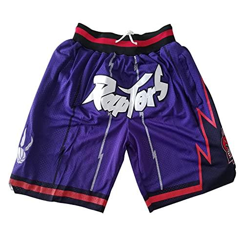 MEIBAO Raptors Basketball Shorts Herren Mesh Retro Toronto Raptors Swingman Sports Shorts (S-XXL) Purple-L