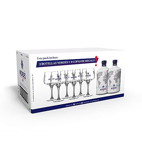 Ginebra Premium nacional Nordés Atlantic Galician Gin - Pack de 2 botellas de 70 cl + 6...