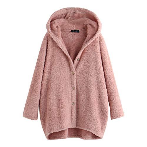 Lulupi Hoodie Plüschjacke Damen Teddyplüsch Jacke Oversize, Herbst Neu Fleece Pullover Knopf Plüschmantel Winter Warme Kapuzenpullover