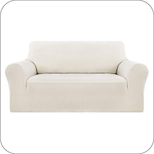 Amazon Brand - Umi Fundas para Sofa Funda Sofa 2 Plazas Elasticas Anti Gatos Funda Protectora para Salon Blanco