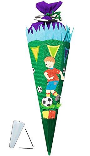 alles-meine.de GmbH BASTELSET Schultüte -  Fußballer  - 85 cm - mit / ohne Kunststoff Spitze - Zuckertüte zum selber Basteln - 6 eckig Jungen Fussball Sport Ball grün