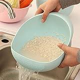 Colador de silicona para arroz, cesta de drenaje, cuenco de fruta, cesta de drenaje con asa para lavar la cesta para el hogar...