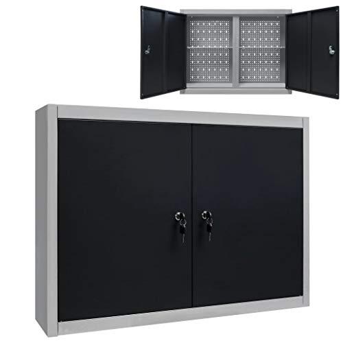 vidaXL Werkzeugschrank Wandmontage Industriell mit 2 Fachböden Lochwand Hängeschrank Metallschrank Werkstattschrank Metall Grau Schwarz