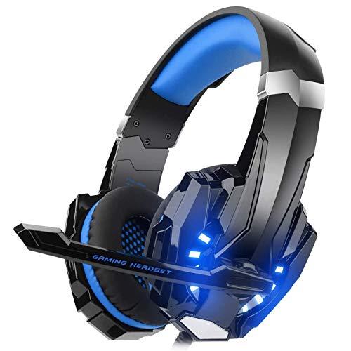 Cascos Auriculares para PS5 Playstation 5, Auriculares Gaming Premium Stereo con Microfono, Cascos Gaming con Luz LED y Control Volumen, Diadema Acolchada y Ajustable, Micrófono Flexible,Azul