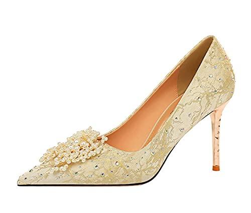 Hanfike Zapatos para las mujeres invitadas de boda de tacón alto fiesta...