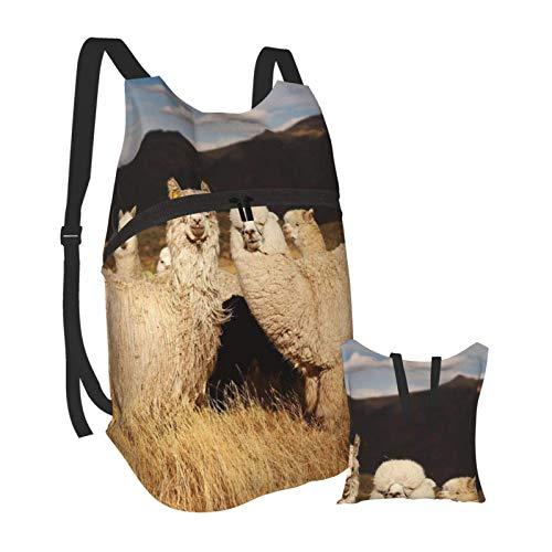 Lamas (Alpaca) in Andes Ultralight Folding Portable Backpack Camping Hiking Bag