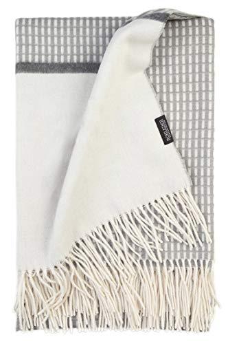 Rohleder Home Collection Plaid Darling - Fog - 150 x 180 cm - Kuschelweiches Plaid mit Karomuster, Bordüre & Fransen - Creme & Grau