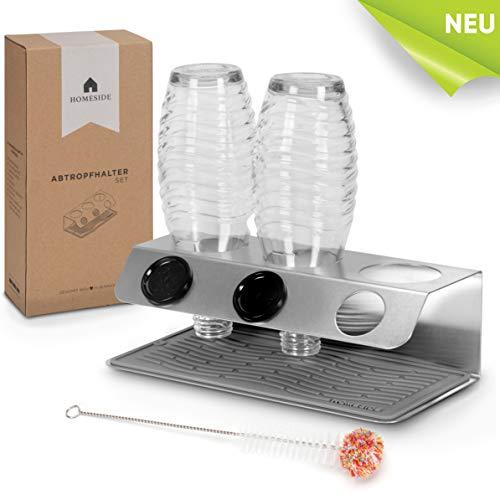 HOMESIDE® - SmartDry - SodaStream Flaschenhalter im Edelstahl Slimline Design - Inkl. Abtropfmatte u. Flaschenbürste – Der Elegante Abtropfhalter für Soda Stream Crystal, Easy, Fuse, UVM.