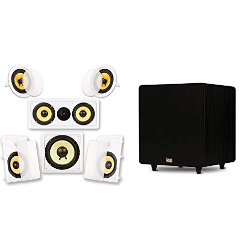 """Acoustic Audio by Goldwood Acoustic Audio HD518 in-Wall/Ceiling Home Theater 8"""" Surround 5.1 Speaker System, White & PSW500-12 Home Theater Powered 12"""" LFE Subwoofer Black Front Firing Sub"""