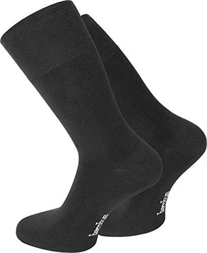 normani 3er Pack Bambus-Socken mit Piquebündchen Farbe Schwarz Größe 43/46
