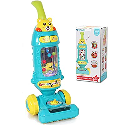 Kids Vacuum Toy Vacuum Cleaner for Toddlers with Lights & Sounds Effects & Ball-Popping Action Washable Cloth,Pretend Play Activities Housekeeping Toys Gift for Boys Girls Toddlers Ages 3 4 5 6, Blue from FIVESTAR TOYS