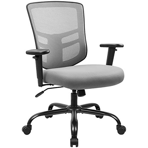 Devoko Big and Tall Office Chair 400 lbs Ergonomic Desk Chair with Adjustable Armrests High-Back Computer Chair with Lumbar Support Executive Swivel Conference Chair (Grey)