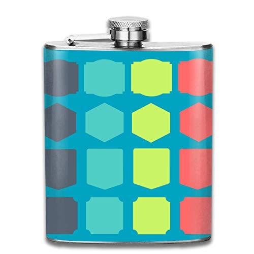 Pallone per liquore,Geometric Shape Pattern Fashion Portable Stainless Steel Hip Flask Whiskey Bottle for Men and Women 7 Oz