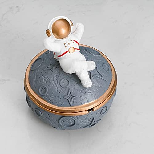HUANGDAN Astronauta Cenicero de Astronauta Sellado con Tapa Anti Fly Ash Adornos de Personalidad Creativa Sala de Estar Simple Cenicero del hogar Regalos de inauguración,Gris,A