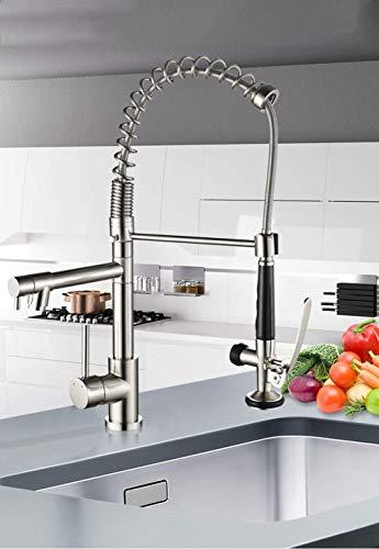 ZLININ Professiona - Grifo de cocina (latón cepillado, 360 grados), color níquel cepillado