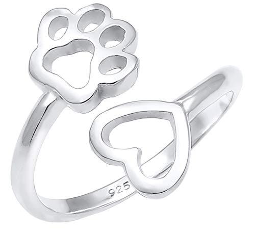 Nenalina 0603591819 - Anillo de Plata de Ley 925 para Mujer, Ajustable, con símbolo de Huella y corazón Abierto