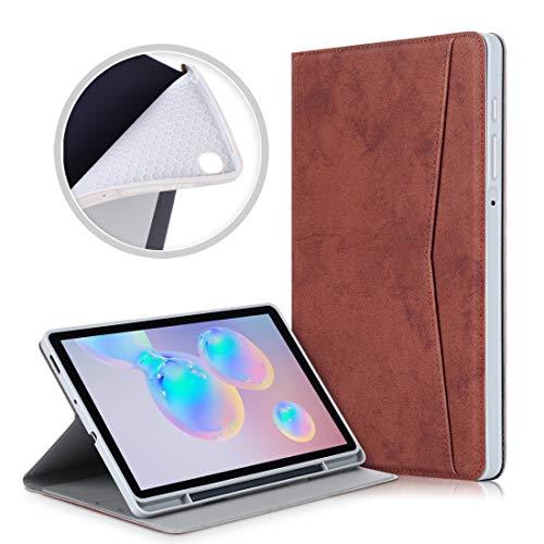 Accesorios de tabletas Para Samsung Galaxy Tab S6 Lite P610 / P615 Textura de tela de mármol TPU Funda de cuero con tapa horizontal con soporte y ranura para tarjeta y ranura para bolígrafo