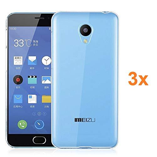 REY Pack 3X Transparente Silikonhülle TPU für MEIZU M2 Mini, Handyhülle Premium Kratzfest TPU Durchsichtige Schutzhülle, Ultradünne 0,33 mm