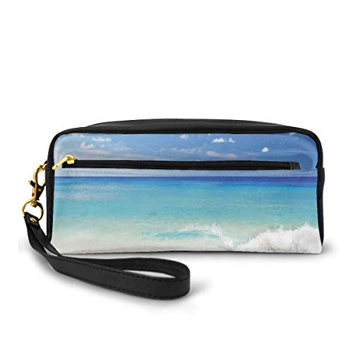 Pencil Case Pen Bag Pouch Stationary,Tropic Ocean Style Sandy Shore and Sea with Waves Escape to Paradise Theme,Small Makeup Bag Coin Purse