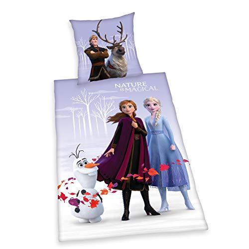 Herding Disneys Die Eiskönigin 2 Bettwäsche- Set, Exklusiv nur bei Amazon, Bettbezug 135 x 200 cm, Kopfkissenbezug 80 x 80, Baumwolle/Renforcé, Lila