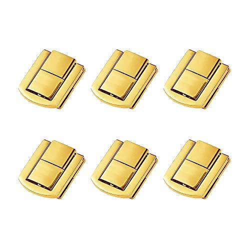 JKJF Caja de madera con cierre de metal para el pecho, con tornillos para cajas de joyería, cajas de regalo, cajas de vino, maleta, 6 unidades, color dorado