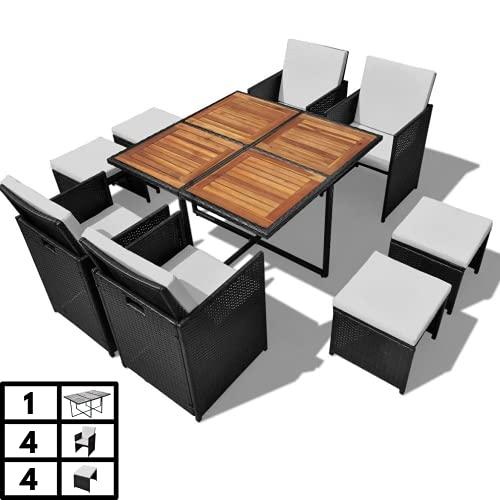 Luxurygarden - Juego de mesa y sillas de jardín de ratán - Juego de comedor de exterior: 4 sillas y 4 taburetes negros - Muebles de jardín plegables - 8 plazas