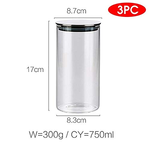 300/500/750/1000ML Glass Airtight Storage Jars Kitchen Food Storage Canister Containers for Candy Cookies Sugar Flour,3pcs 750ml