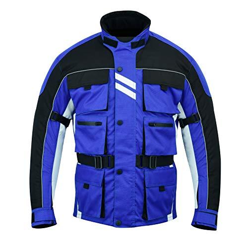 Warrior Gears® - Chaqueta de motocicleta con 6 bolsillos para hombre, guerrero, textil, carreras, moto de alta visibilidad, blindada CE | Chaquetas impermeables, azul, XXXXL