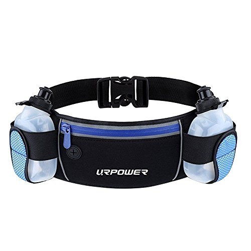 URPOWER Running Belt Multifunctional Zipper Pockets Water Resistant Waist Bag, With 2 Water Bottles...