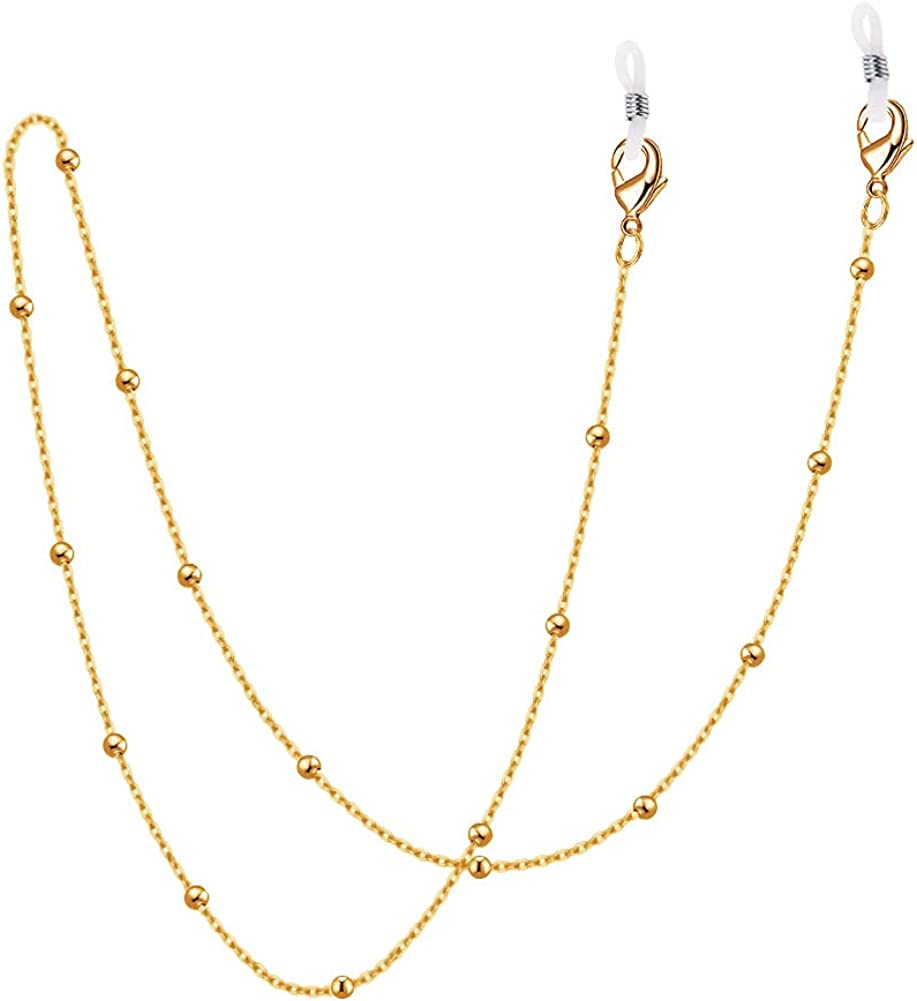 DayOfShe Mask Chain Lanyards 18K Gold Plated Mask Holders Around Neck for Women 26-28 Inches Eye Glasses Accessory Chain