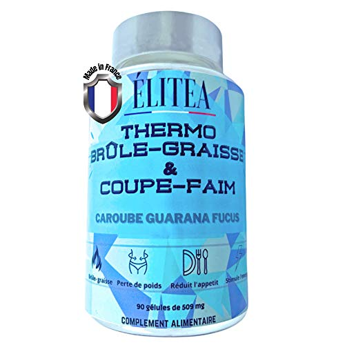 Elitea  Thermo brûle graisse & coupe faim puissant et efficace  Extra fort minceur pour homme et femme 100% naturel  Caroube Guarana Fucus Vegan  Perte de poids rapide  Pilule amincissante