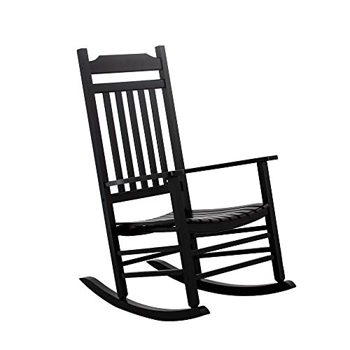 B&Z KD-30B Wooden Rocking Chair Classic Porch Rocker Outdoor Indoor Black