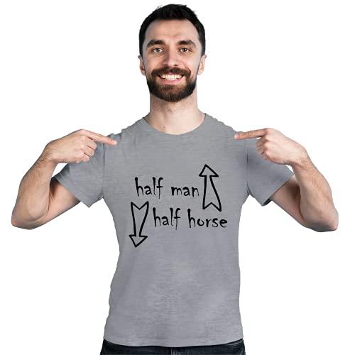 Half Man Half Horse - Camiseta de ocio divertida de manga corta para hombre | 11 colores | S-XXL | 100% algodón gris XXL