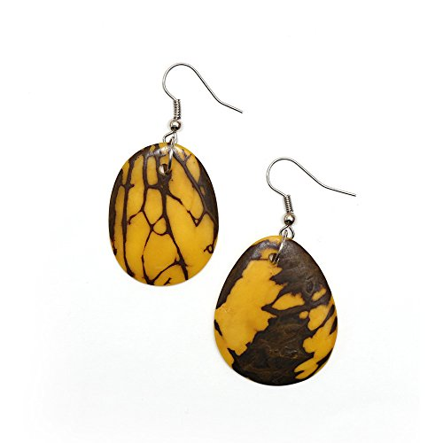 Orecchini Idin Tagua - giallo Tagua (pietra simandra) dischi (circa 6 cm)