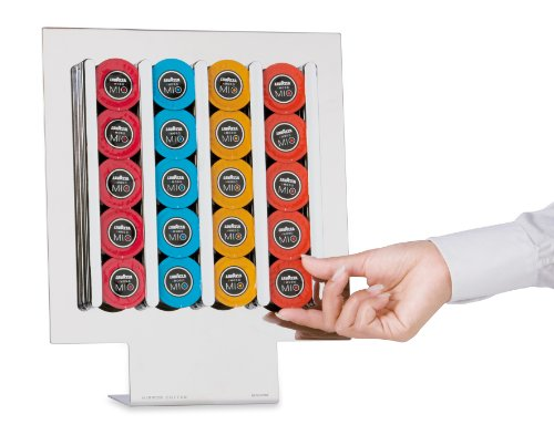 MACOM Just Kitchen 834 Mirror Coffee Lavazza A Modo Mio Dispenser Portacapsule per Macchine caffè, 20 Capsule, Acciaio Cromato Lucido