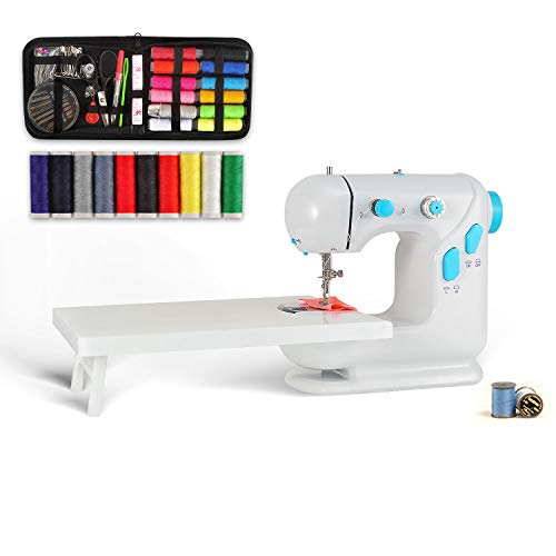 Silkyway Mini Sewing Machine with Extension Table, Beginner Sewing Machine with Bonus Shared 90 Pcs Electric Speed Crafting Mending Machine Adjustable 2-Speed with Foot Pedal