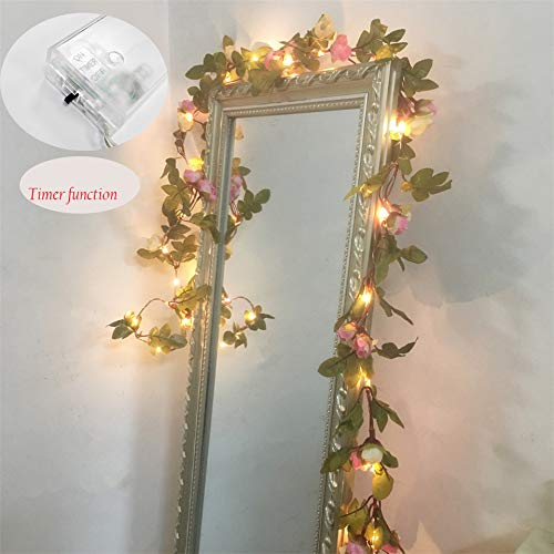 FLCSIed 2 Meter 20 LED Flower Leaf Garland Battery Operate Silver LED Fairy String Lights For Wedding Decoration Party Event with Timer