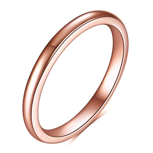 BGSH Titanium Steel Simple Geometric Shape Ring No. 10 Rose Gold Ring for Women Girls Sisters Friends Meaningful Jewelry Gift