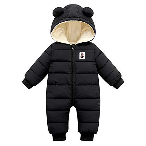 Borlai Neugeborenes Baby Mädchen Jungen Winter Warm Schneeanzug Kapuzen Strampler Doppelreißverschluss Overall Mantel Jacke Gr. 68, Schwarz
