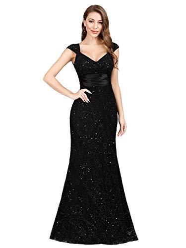 Women's V-Neck Empire Waist Sparkly Evening Dress Cocktail Gowns Black US14