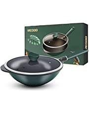 Nonstick Wok and Stir Fry Pan with Glass Lid,Frying Pan Use Die-Casting Aluminum,Skillet Wok Pan for Induction,Electric&Gas Stoves,PFOA Free,Dishwasher-Safe Cookwares,Saute Pan,Skillet,Green-12.6 Inch