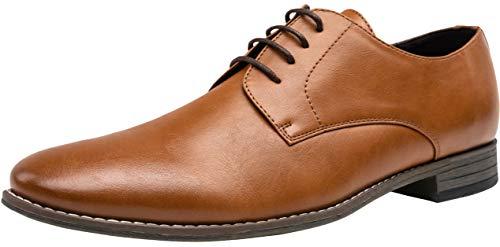 Jousen Men's Oxford Plain Toe Brown Dress Shoes Leather Classic Business Formal Derby Shoes(A5A098 Brown 10)