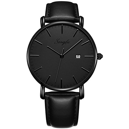 SONGDU Men's Ultra-Thin Quartz Analog Date Wrist Watch with Black Leather Strap