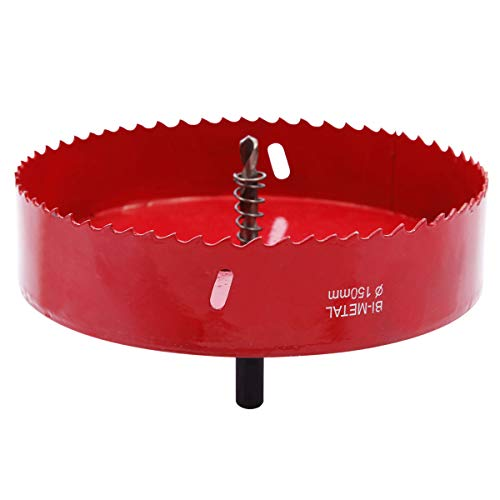 Lochsaege Metall M42 HSS Lochsaege Alu Eisen Holz 150mm komplett mit Sechskant-Schaft und Bohrer Ø 150 Zahn Dia, gezahnten BI Cutter Bohrer Rot