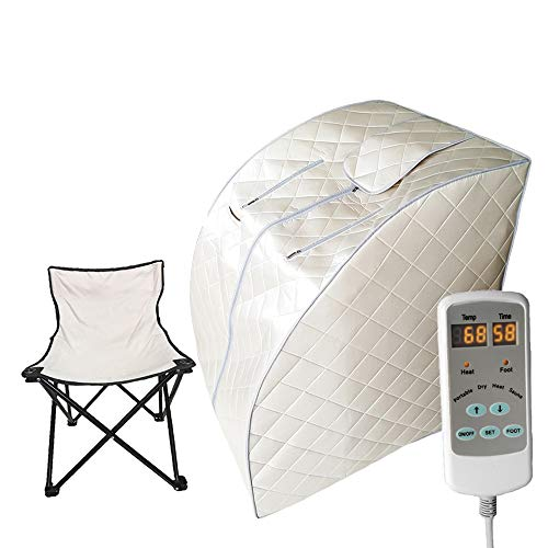 Smartmak Far Infrared Sauna, One Person at Home Portable Full Body SPA Tent with Heating Foot Pad and Portable UPGRADE Chair- Beige