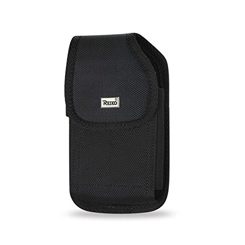 Rugged Black Heavy Duty Canvas Vertical Metal Clip Case fits LG K7 with Any Cover on it.