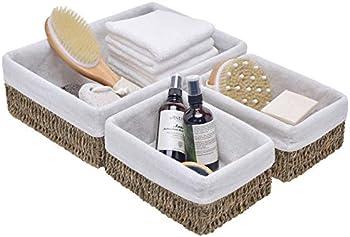 Set of 3 StorageWorks Hand-Woven Seagrass Wicker Storage Baskets