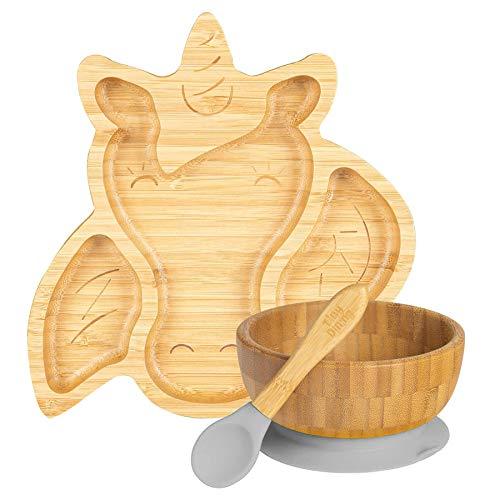 Tiny Dining infantil de bambú succión unicornio vajilla Plato, Tazón, cuchara con ventosas segmentado de diseño, respetuoso del medio ambiente - Gris